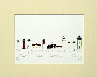 "Lighthouses of Cape Cod Art Signed Robert Kline Matted 11"" x 14"" Print Nautical Home Decor Nauset Beach Chatham Wood End Nobska Long Point"