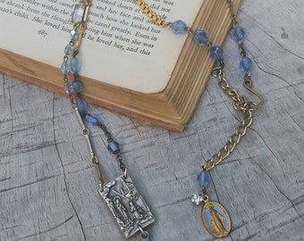 """Upcycled Vintage """"Bit and Pieces"""" Rosary Assemblage Necklace, ooak,Repurposed, Religious Assemblage, Blue Rosary Necklace"""