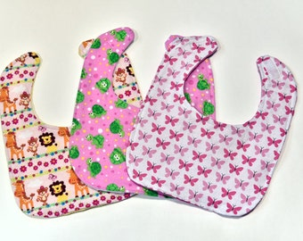 Cute Baby Girl Bibs Set of 3 Baby Trend Baby Items Baby Girl Gift Soft And Comfy Backing