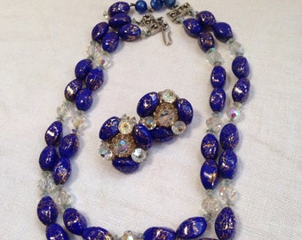 Hobe Lapis Art Glass Bead Necklace Double Strands and earrings