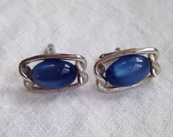 Vintage Blue Moonglow Lucite Cuff Links