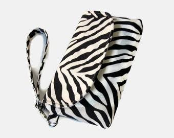 Zebra Print Wristlet - Black Clutch - Zebra Fabric Small Bag - Evening Bag - Phone Pouch - Phone Wristlet