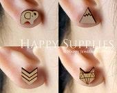 4pcs Mini (SMN21-24) DIY Laser Cut Wooden Earring Charms - SWC Series