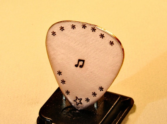 Copper Guitar Pick Handmade for the Serious Musician and Handstamped with Music Note for Musical Inspiration - GP212