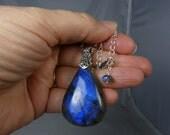 Huge Labradorite Necklace, LARGE Labradorite Teardrop Pendant, Cobalt Blue and Royal Blue Flash, Adjustable Length Sterling Silver Chain