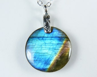 Labradorite Necklace, Flashy Round Labradorite Pendant with Sky Blue, Cobalt Blue, Pink, Gold, and Coppery Brown Flash, Sterling Silver