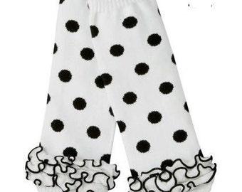 White with Black polka dot Leg Warmers Ready to Ship