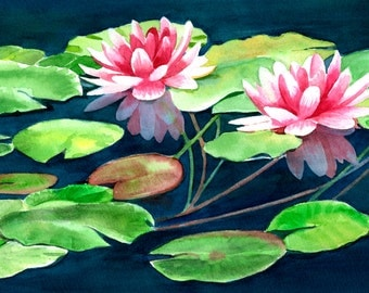 Pink Water Lilies, Floral Watercolor, Watercolor Painting, Original Watercolor, Watercolor Art, Pink Flowers, Water Lily, 8 x 14.5 inches