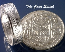 CANADA 50 CENT Silver Coin Ring  (Choose The Year & Ring Size You Want)