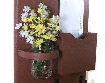 Mail Organizer - Mail Holder - Mail and Key Holder - Letter Holder -Key Hooks - Jar Vase - Organizer