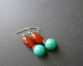 Red Agate Earrings Valentines Gifts For Her Red Dangle Earrings Semi Precious Stone Jewelry Turquoise Drop Earrings Red Gemstone Earrings