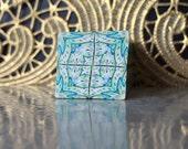 Polymer Clay Kaleidoscope Cane Ivory, Turquoise, Black, White No. 1087