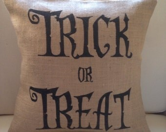 Halloween pillow cover Trick or Treat burlap (hessian) pillow cover