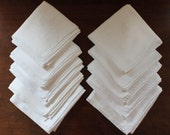 Set of 10 Vintage White Heavy Cotton Embroidered Monogrammed Square Napkins