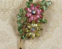 Vintage Trifari Rose, Yellow and Green Pastel Floral Rhinestone Gold Brooch