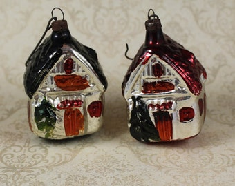 Pair of Vintage Mercury Glass Red and Green Roofed Cottage Christmas Ornaments