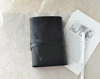 Little Black Book - Black Leather Book with Black Pages