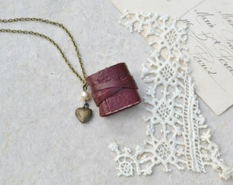 Dark Red Leather Book Necklace with Heart Locket