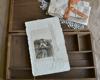 Collage with Antique Photo - Handwritten Letter - Lace - Original - No. 7