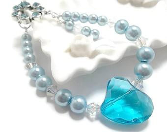 Wedding Bracelet/ Pearl Bracelet/Bridal Jewelry/Baby Blue/Turquoise