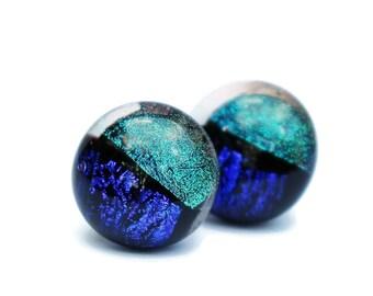 Small Earring, Fused Glass Earrings,Blue Iridescent Earrings, Post Earrings, Hypoallergenic,Dichroic Fused Glass Earrings 131