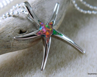 Sterling Silver, Fire Opal Starfish, Blue Starfish, Ocean Necklace, Seyshelles Necklace