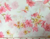 LAST YARD, Vintage Pink Floral Fabric, 1 yard