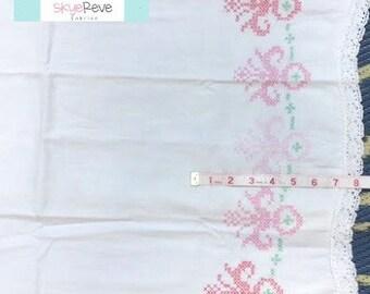 Vintage White Embroidered Pillowcase