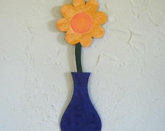 Metal flower sculpture vase home wall decor reclaimed metal wall art purple