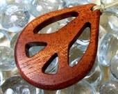 Peace Sign / Mahogany Wood /  Pendant / Design B