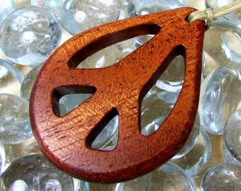 Peace Sign / Mahogany Wood /  Pendant / Design B
