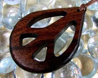 Peace Sign Pendant / Walnut Wood / Design B