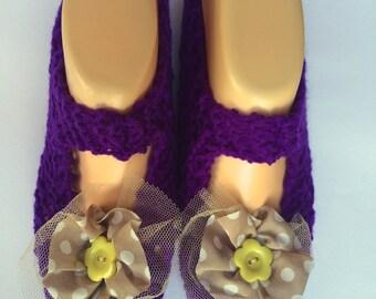 Slipper Socks  - Mesh Flowers