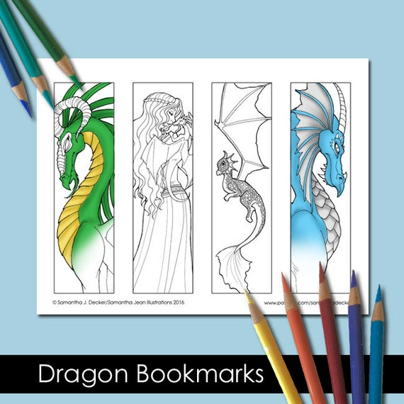Coloring Bookmarks Printable Bookmarks Dragon Coloring