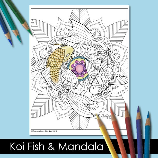 One Adult Coloring Page Koi Fish and Mandala