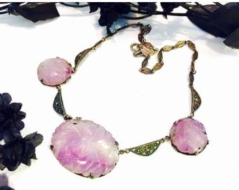 CIJ Christmas July SALE Art Deco Old Chinese Carved Purple Amethyst Flower Sterling Silver Vintage Antique Necklace