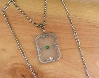 Stunning Art Deco Rock Crystal Camphor Jade Sterling Silver Vintage Necklace Art Deco Jewelry