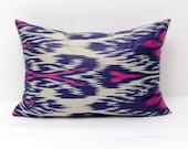 20 x14 pink blue lumbar ikat pillow cover, pink pillow, blue pillow, ikat pillow, lumbar pillow, decorative pillow, Margilan ikat
