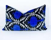Luxury 23x14, blue white black ikat, blue ikat, blue velvet ikat, velvet ikat pillows velvet ikat, lumbar ikat, velvet pillow, long pillows