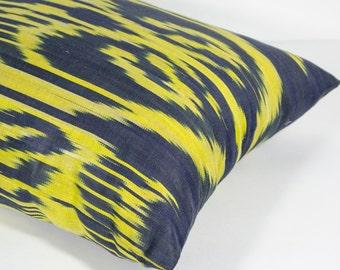 20x14 yellow lumbar ikat pillow cover, yellow ikat pillow, yellow cushion, yellow black ikat, throw pillow, accent pillow, decorative
