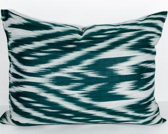 20x14 dark green lumbar ikat pillow cover, dark green ikat pillow, green cushion, gray gree ikat, throw pillow, accent pillow, decorative