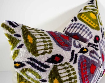FOR SALE 22x14, yellow, red ikat, grey ikat, yellow ikat, velvet ikat pillow, velvet ikat, lumbar ikat, velvet pillow