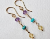 Amethyst, Turquoise and Citrine Earrings - Gold Filled Dangle Earrings Beaded Earrings Beadwork Earrings