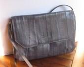 Vintage Sunco Charcoal Gray Eel Skin handbag matching change purse