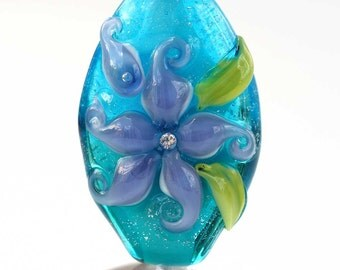 Lampwork Focal Bead, Aqua & Purple Floral Handmade Glass Bead with Cubic Zirconia