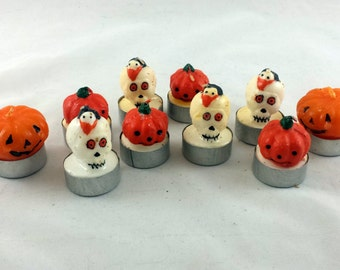 Vintage Halloween Candles. 10 Skull and Pumpkin Votives, Tea Lights. Priority Shipping