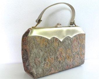 Vintage Metallic Jacquard Retro Tote Bag