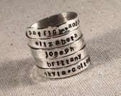 5 Wrap Hand Stamped Ring Personalized Mothers Ring Name Ring Wrap Ring Custom Ring Sterling Silver Ring