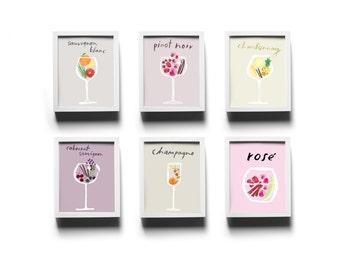 Set of 6 Wine Profile Prints
