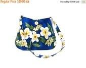 Hawaiian purse, Frangipangi purse, Royal Blue Tote, Plumeria Flower Tote, Small Shoulder Bag, Fabric Purse, caroljoyfashions77